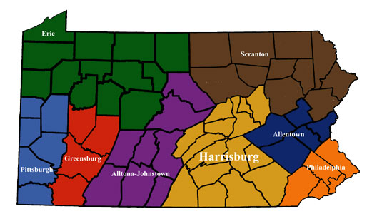 Map of all Dioceses in PA