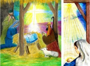 Artwork detail from the Manger Scene by Madeleine Suhrbier and the Madonna & Child by Evan Sloane. Both artists are from Our Mother of Perpetual Help Parish, Ephrata.