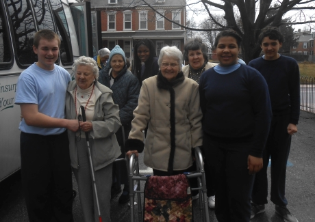 Resurrection Students Join Seniors in Stations of the Cross