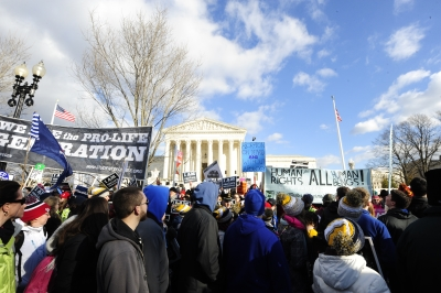 Pro-life supporters and abortion proponents rally in front of the Supreme Court in Washington, D.C., during the March for Life.