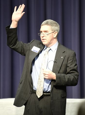 Keynote speaker Peter J. Murphy, PhD, makes a point about overcoming the fear of evangelizing.