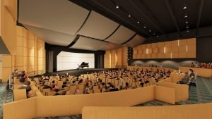Renderings by Murray Associates Architects of Harrisburg illustrate a state-of-the-art auditorium.