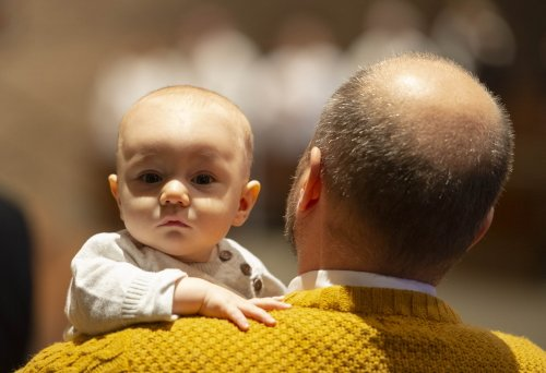 A baby is seen in this photo from the Diocese's Respect Life Mass in 2019.